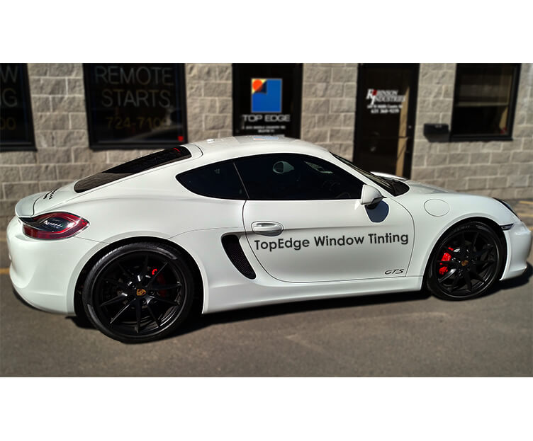 White Porsche GTS with 20% tint