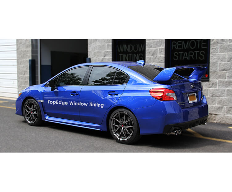 Blue Subaru WRX tinted with 20%