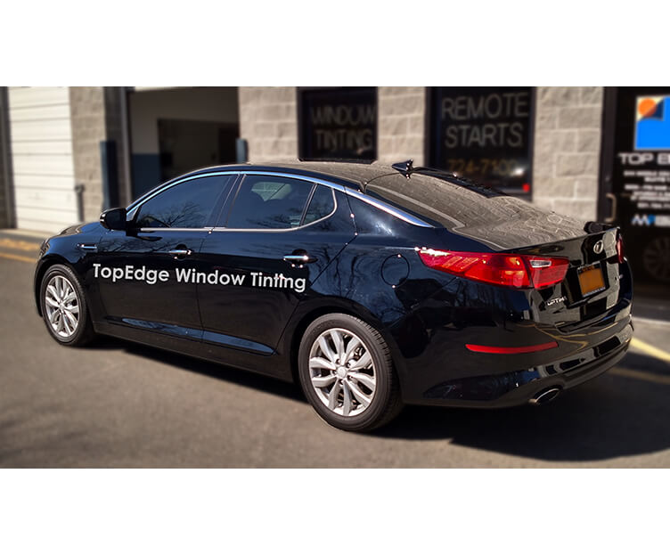 Black Kia Optima with 20% tint on all windows
