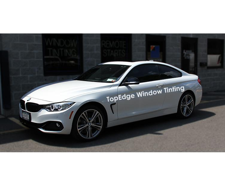 White BMW 435i with a 40% window tint